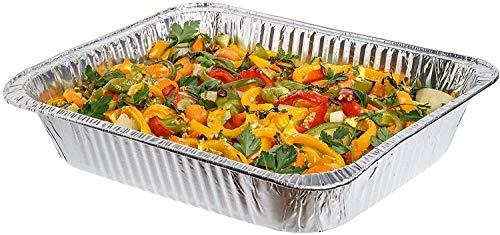 Paquete de 10 moldes desechables de aluminio de 32 x 26 cm, ideales para hornear, asar, cocinar y más