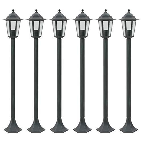 vidaXL 6x Lampioni da Giardino E27 Alluminio Verde Scuro Lanterna da Esterno
