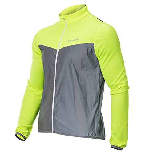 ROCK BROS Reflective Long Sleeves Shirts High Visibility Mens Cycling Jersey Breathable Safety Reflective Shirt Green