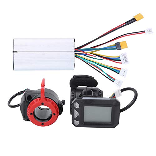 Alomejor Controller per Biciclette Elettriche, 5,5 Pollici Controller con Display a LED per E-Bike Controllore Kit di in Fibra di Carbonio per Scooter Elettrico Bici(Controller + Throttle + Brake)