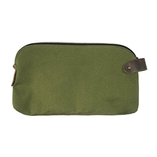 Hide & Drink, Water Resistant Canvas Large All Purpose Dopp Kit Utility Bag With Durable Plaid Lining (Cords, Chargers, Tools, School/Office Supplies) Handmade Includes 101 Year Warranty :: Olive