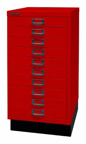 Bisley ladekast 29 van metaal | kast met 10 laden en sokkel | kantoorkast DIN A3 | gereedschapskast, metalen kast in 6 kleuren kardinaalrood