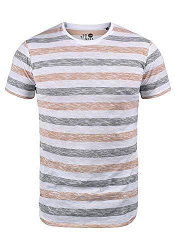 !Solid TET Herren T-Shirt Kurzarm Shirt Mit Streifen Und Rundhalsausschnitt, Größe:M, Farbe:Mahog. Rose (4203)