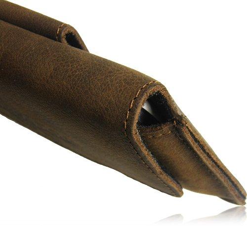 Matador Echt Leder Tasche Case Hülle Handytasche Gürteltasche Quertasche für Huawei Ascend W1 in Antik Tobacco Vintage Style mit verdecktem Magnetverschluß und Gürtelschlaufe - 5