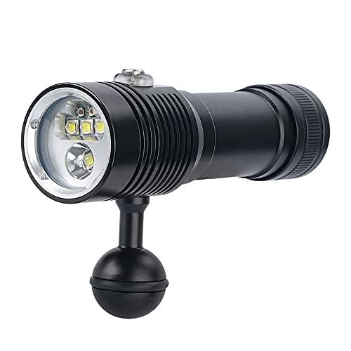 DFFng Linterna de Video de Buceo, 110 Grados de ángulo de Haz Amplio Fotografía submarina Fluorescencia Linterna de Buceo Luz de Relleno con Mango (batería no incluida)