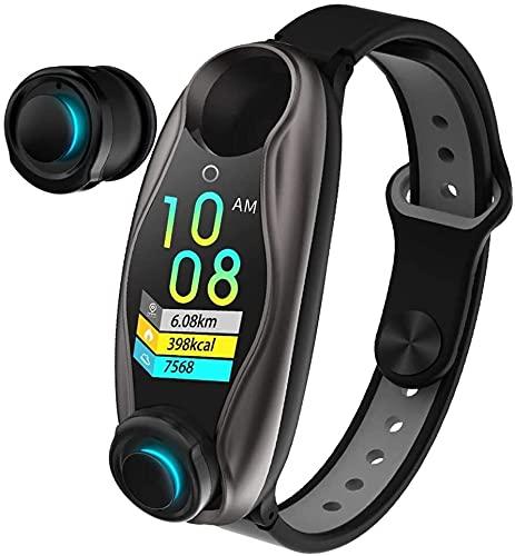 X&Z-XAOY Reloj Inteligente 2 En 1 con IA con Auriculares Bluetooth Rastreador De Actividad Física Pulsera Inteligente Espera Larga Pulsera Smartwatch BT 5.0 Reloj Inteligente