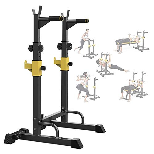 rack stands HMDJW Barbell Squat Rack Stands, Adjustable Barbell Rack Multi-Function Squat Weight Lifting Bench, Rack Max Load 250Kg, Home Gym Fitness Indoor Strength Trainin