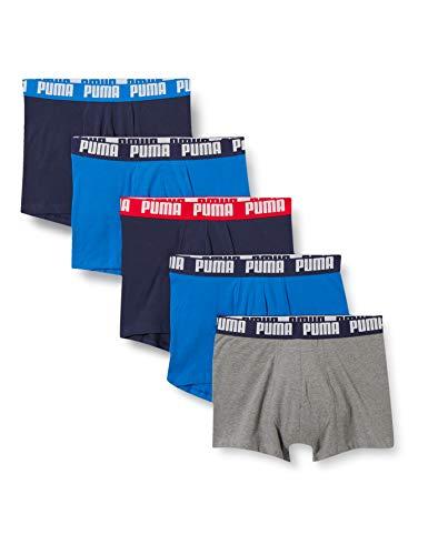 PUMA Mens Basic Men's Boxers (5 Pack) Boxer Briefs, Blue/Grey Melange, S (5er Pack)