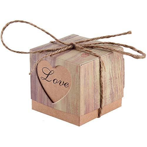 fGf Hochzeit Candy Aufbewahrungsboxen-Set 50Stück DIY Vintage Kraft Bonbonniere Herz Romantik...
