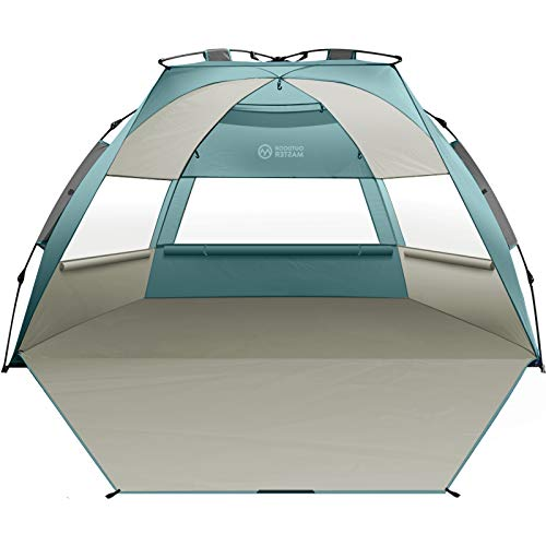 OutdoorMaster Pop Up 3-4 Person Beach Tent X-Large - Easy Setup, Portable Beach Shade Canopy Folding Sun Shelter with UPF 50+ UV Protection Removable Skylight Family Size - Cancun Seashore