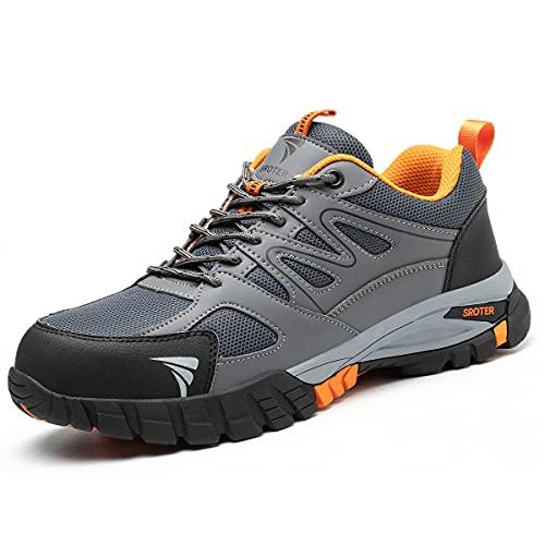 Zapatos de Seguridad para Hombre Mujer Puntas de Acero Antideslizantes Transpirables Anti-Piercing Zapatos de Trabajo