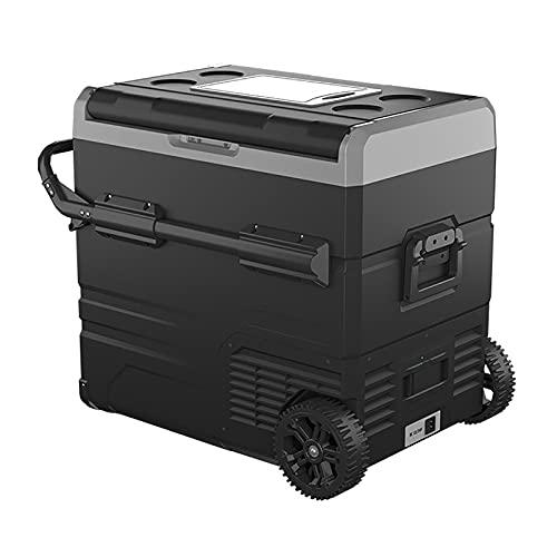 55L Auto Kühlschrank Kühlbox Kompressor Kühlbox mit Rollen Zwei Zonen Elektrischer Mini-Kühlschrank für Camping, Auto, LKW Oder Haus, 12V/24V/220V