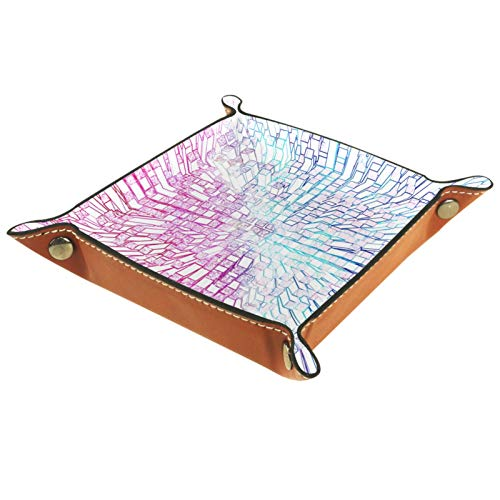 Bandeja de valet, organizador de escritorio, caja de almacenamiento, gradiente de cuero, rosa, azul, prisma, bandeja Catchall para uso doméstico