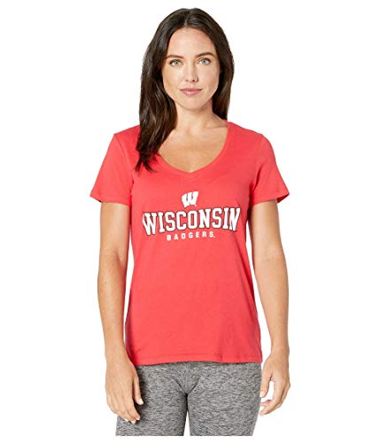 Champion College Wisconsin Badgers University V-Neck Tee Scarlet 3 LG