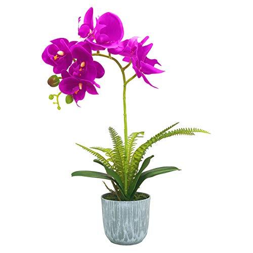AIVORIUY Orquídeas Artificiales con Maceta Flor Orquideas Realista Planta Flores de Phalaenopsis para Decoración del Hogar de Mesa Fiesta de Oficina de Boda de Casa (Rosado)