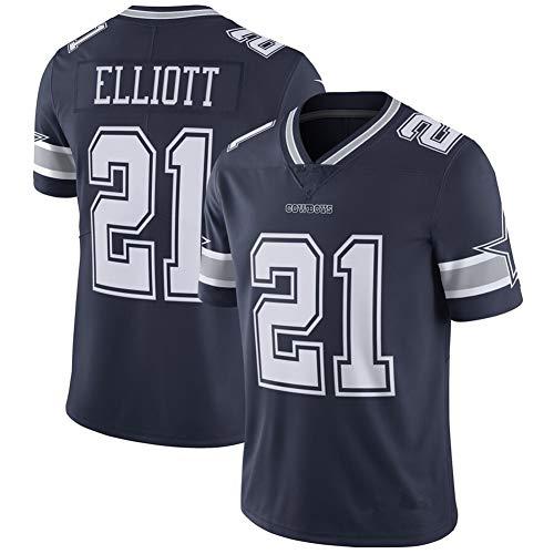 Männer American Football Trikot Ezekiel Elliott Dallas Cowboys # 21, Herren Boutique Sports College Wettbewerb Kleidung Trainingsanzug Sweatshirt-Navy-XXL(95~100KG)