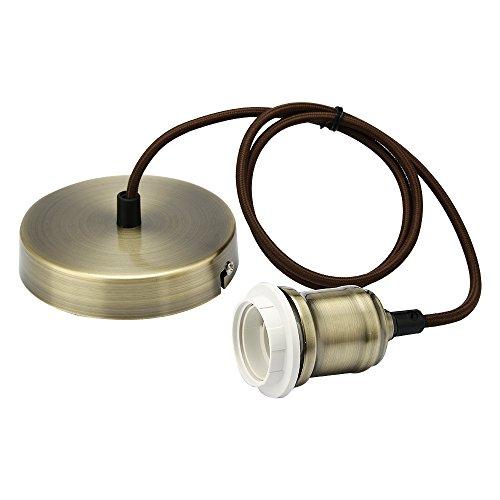 Supporto per lampadina con cavo intrecciato e flessibile, kit per lampada a sospensione, portalampada, Ottone anticato