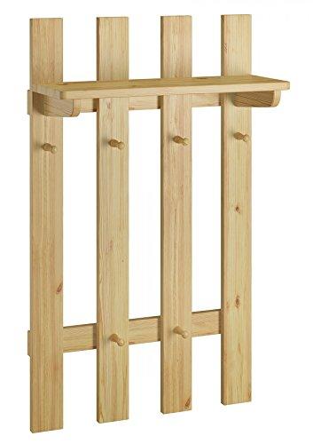 Erst-Holz® Garderobenpaneel Flurgarderobe Kleiderhaken aus Kiefer Massivholz 90.80-14