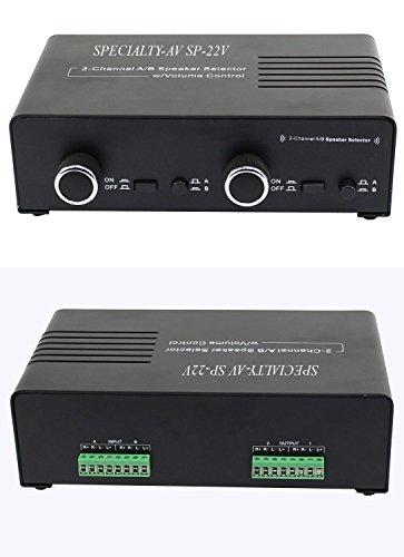 2 Amp 2 Pair Speaker Selector Switch Switcher Splitter Box Volume Control