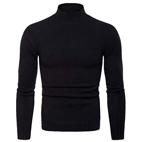 Uomo maglione autunno e inverno uomo casual collo alto slim tinta unita fondo maglione uomo maglione Nero XXL