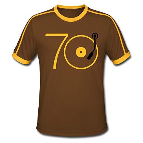 Musik Der 70er Platte Retro Männer Retro-T-Shirt, XL, Chocolate/Sun