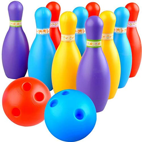 BKDT Marketing Bowling Toy Set with 10 Pins and Two Balls Indoor Outdoor Sports Game for Kids-Delux Bowling