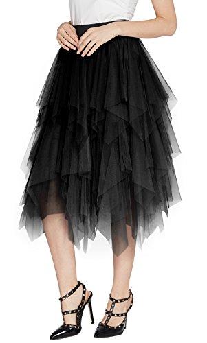 Urban CoCo Women's Sheer Tutu Skirt Tulle Mesh Layered Midi Skirt (L, Black)