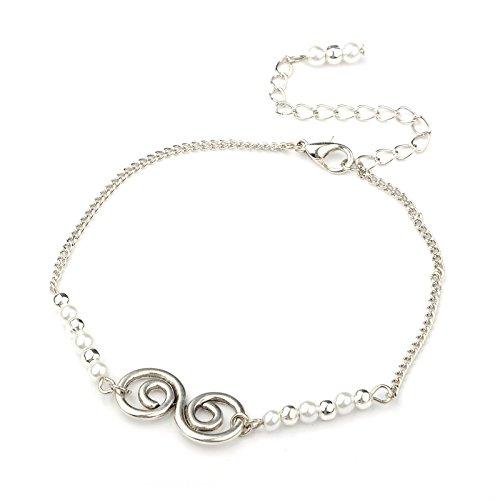 Idin Jewellery - Cavigliera vortice color argento con perla bianca in vetro