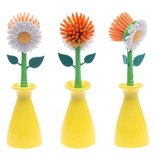 Cleaning Brush Sun Flower shape pan pot Dish Washing Brush Kitchen cleaning tool (YELLOW)