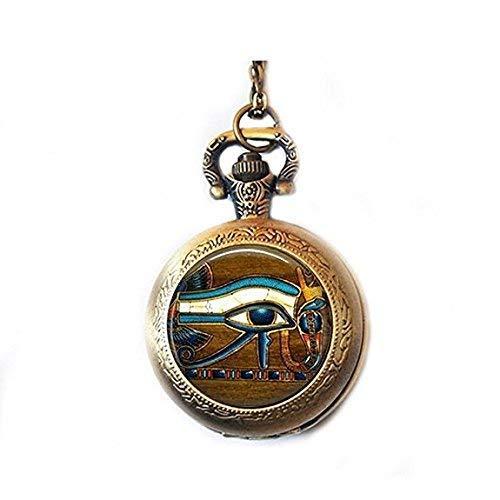 N / A Hollow Mechanical Pocket Watch ,Glass Tile Pocket Watch Necklace Eye of Horus Watch Necklace Egyptian Watch Necklace Egyptian Eye Glass Tile Jewelry Egytian Jewelry Watch