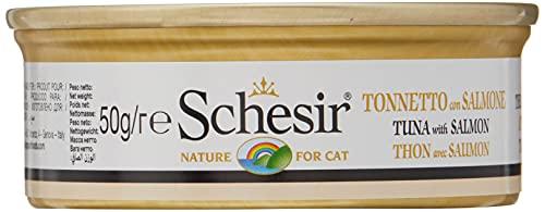 Schesir Cat Multipack Tonno di gelatina di gatto con salmone, cibo umido per gatti, 1 x 6 lattine x 50 g