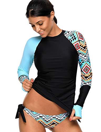 Bikini Dames Stand Badpak Tankini Hospants Zwemkleding met Moderne Casual Zwemshirt Korte Mouw Uv Shirt Rash Guard Zwemshirt UPF 50