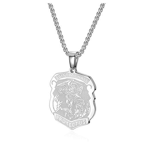 Jovivi Schmuck Saint Michael Schild Anhänger Kette mit Gravur Erzengel Pendant Halskette Glücksbringer Christentum Geschenk