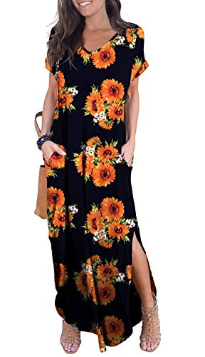 GRECERELLE Women's Casual Loose Long Dress Short Sleeve...