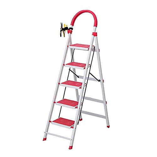 Gjrff Taburete De Metal De Hierro-escalera Plegable Paso Heces-adulto Pesada Plegable Escalera Plegable/Escalera Con Asa Y Antideslizante Del Pedal (Size : 43x76x145cm)