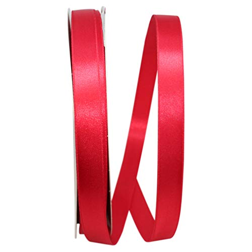 Double Face Satin Allure Dfs Ribbon, 5/8 Inch X 100 Yards, Hot Red