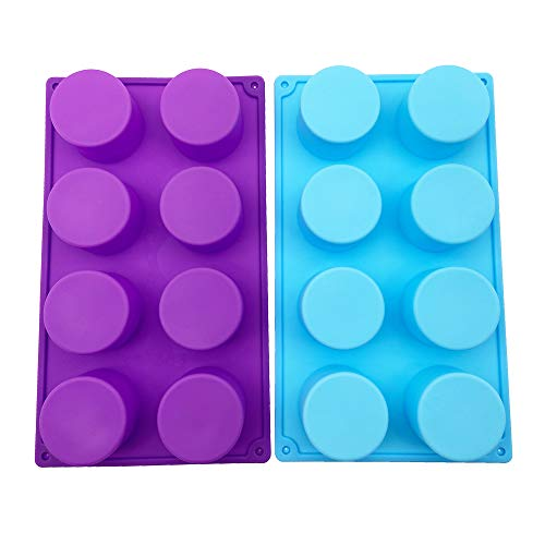 (2 Pack)8-Cavity Round Silicone Mold for Soap, Cake, Bread, Cupcake, Cheesecake, Cornbread, Muffin, Brownie, and More - Purple Blue