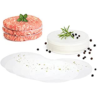 GOURMEO Burger Discs, 500 pieces, round, 11 cm, non- stick parchment paper for burger press and patty makers | 2 Year Satisfaction Guarantee |wax sheets for hamburger, burger patties, meat balls