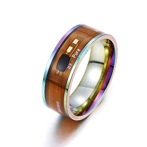 HYwot NFC Smart-Ring Neue Technologie für Android von Windows und Iphonexs Phone Smart Zubehör Payment, NFC Wearable Finger Digital-Ring Titan Stahl Schmuck Bunte,Seven Colors 9