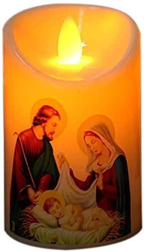 Lámpara LED de Jesucristo sin llama, vela de té creativa LED, luz nocturna, fiesta, para el hogar, halloween, decoración navideña (2 unidades)
