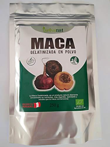 Maca Gelatinizada en polvo. 250 g. Sin gluten No-OMG Orgánica y Vegana. Energía, Fertilidad, Equilibrio Hormonal y Salud Sexual para mujeres y hombres. Producto Peruano