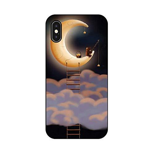 EREMITI JEWELS Cover Personalizzata Orsacchiotto Pesca Nuvole Luna Stelle Teddy Bear Fishing Clouds Moon Stars Smartphone 5 5C 6 6S 6 Plus 6S Plus 7 7PLUS 8 8PLUS X (iPhone XR)