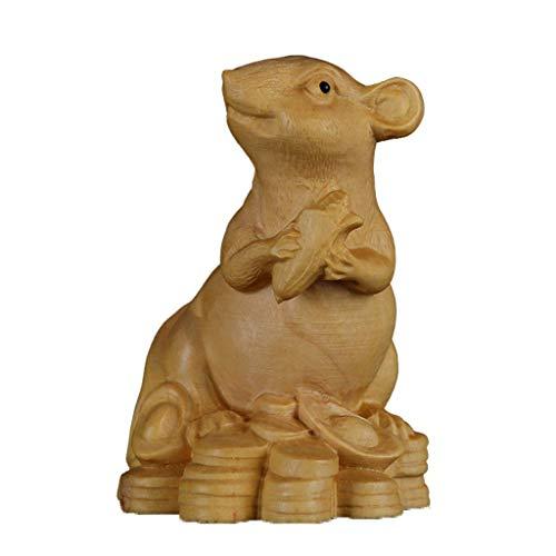 Estatuas de rata/ratas del zodiaco chino, esculturas de Feng Shui de madera de artesanía coleccionable figura atraer riqueza y buena suerte en casa oficina mesa decoración