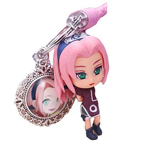 SGOT Naruto Schlüsselanhänger, PVC Anhänger, Anime Keychain, Uzumaki Naruto Uchiha Sasuke Haruno Sakura Hatake Kakashi Keyring für Anime Lovers( Haruno Sakura 7cm)