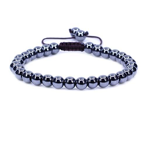 Natural Black Hematite Gemstone 6mm Round Beads Adjustable Braided Macrame Tassels Chakra Reiki Bracelet