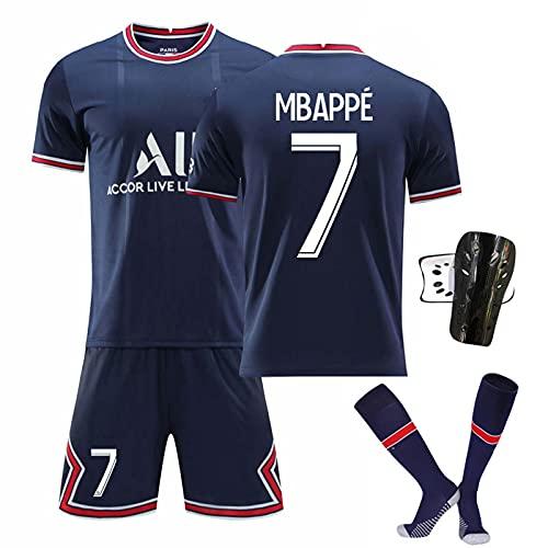 GYLMXF 21-22 Heim-/Auswärtstrikot Nr.7#Mbappé # Nr.10 Neymar # Nr.11 Di María Kurzarmtrikot Shorts Set für Fußballtrikot für Erwachsene und Kinder Adult