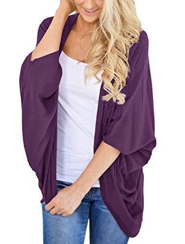 PRETTODAY Women's Summer Chiffon Kimono Cardigans Batwing Sleeve Sheer Shawl Cover ups Purple