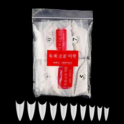 N/A 500pcs Faux Ongles Conseils avec 10 Tailles Conseils pour Ongles Stiletto Acrylique Faux Ongles Conseils ABS artificiels 0-9 Tailles Conseils Nail Art