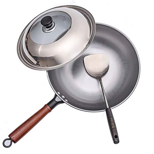 LYSNOWP Carbon Steel Wok with Lid & Spatula, No Coating 13inch Chinese Traditional Stir Fry Pans for Electric, Induction, Gas Stoves