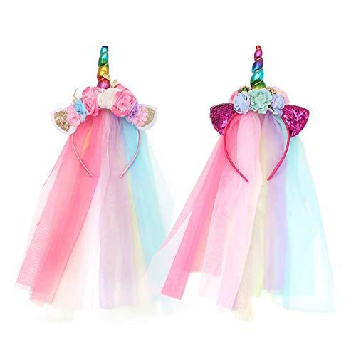 FAVMOS 2pcs Tocado de Unicorn Diadema de Pelo Disfraz Decorativo